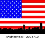 Boston skyline against American Flag illustration