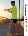 urban jogger on a big bridge...   Shutterstock . vector #207576991