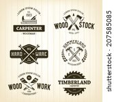 vector set of vintage carpentry ... | Shutterstock .eps vector #207585085