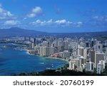 Waikiki Beach Skyline - stock photo