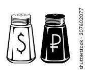 dollar and ruble like salt... | Shutterstock .eps vector #207602077