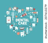 dental care symbols in the... | Shutterstock .eps vector #207613279