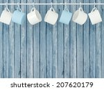Ceramic Cups Hanging On Hooks...