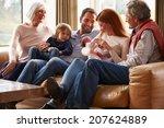 multi generation family sitting ... | Shutterstock . vector #207624889