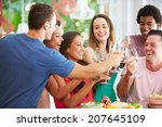 group of friends enjoying... | Shutterstock . vector #207645109