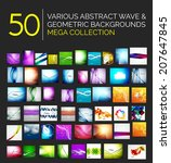 Abstract blurred waves and shiny designs set - 50 abstract backgrounds - huge mega collection - stock vector