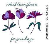 unusual stylized flowers   hand ...   Shutterstock .eps vector #207659371