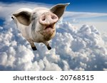 Stock photo a pig flying through the clouds in the sky 20768515