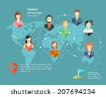 vector global social network or ... | Shutterstock .eps vector #207694234