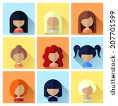 colorful avatars female square... | Shutterstock .eps vector #207701599