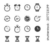 clock icon set. vector black...