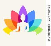 silhouette of buddha sitting on ... | Shutterstock .eps vector #207740419