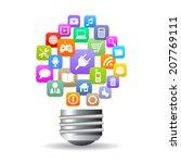 media bulb icon | Shutterstock .eps vector #207769111