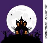 halloween spooky house vector...   Shutterstock .eps vector #207804709
