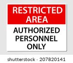 authorized personnel only sign... | Shutterstock .eps vector #207820141