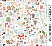 seamless fashion pattern  ... | Shutterstock .eps vector #207826927