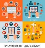 set of flat design backgrounds... | Shutterstock .eps vector #207838204