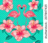 Beautiful seamless floral pattern background with pink flamingos and tropical flowers