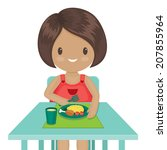 little girl is eating her... | Shutterstock . vector #207855964