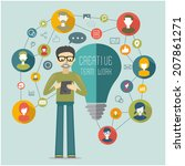 creative flat network concept | Shutterstock .eps vector #207861271