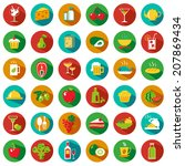 set of food and drinks icons.... | Shutterstock .eps vector #207869434