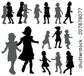 silhouettes of small girls on... | Shutterstock .eps vector #207878077