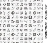 seamless doodle media pattern | Shutterstock .eps vector #207880459