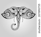 vector doodle elephant  tattoo... | Shutterstock .eps vector #207890755