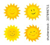smiling suns collection. vector ... | Shutterstock .eps vector #207898711