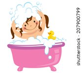 Cartoon Baby Girl Having Bath...