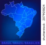 map of brazil with borders as... | Shutterstock .eps vector #207905824