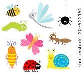 cute cartoon insect set.... | Shutterstock . vector #207922195