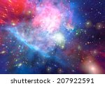 stars of a planet and galaxy in ... | Shutterstock . vector #207922591