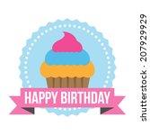 happy birthday round zig zag tag | Shutterstock .eps vector #207929929