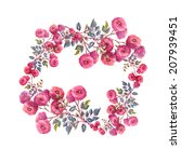 roses garland. watercolor... | Shutterstock . vector #207939451