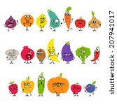 cartoon fruits and vegetables... | Shutterstock . vector #207941017
