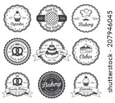 set of vintage black and white... | Shutterstock .eps vector #207946045
