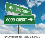 a road sign with bad credit... | Shutterstock . vector #207952477