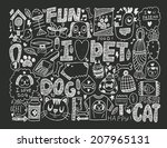 doodle pet background | Shutterstock .eps vector #207965131
