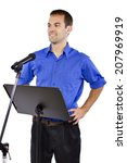 businessman on a podium making... | Shutterstock . vector #207969919