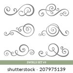 set of six vector flourish... | Shutterstock .eps vector #207975139