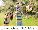family of four playing with... | Shutterstock . vector #207978679