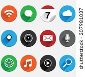 round flat app icon set   icons ... | Shutterstock .eps vector #207981037
