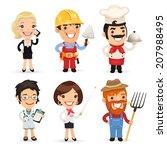 professions cartoon characters... | Shutterstock . vector #207988495