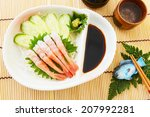 Small photo of Japanese food Alaskan pink shrimp of raw fish