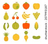 fruits and vegetables  | Shutterstock .eps vector #207993187