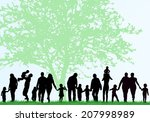 family silhouettes | Shutterstock .eps vector #207998989