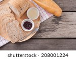 sliced hole wheat bread with a... | Shutterstock . vector #208001224