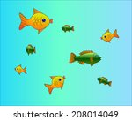 goldfish and perch swimming in... | Shutterstock .eps vector #208014049