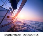 sail boat gliding in open sea... | Shutterstock . vector #208020715